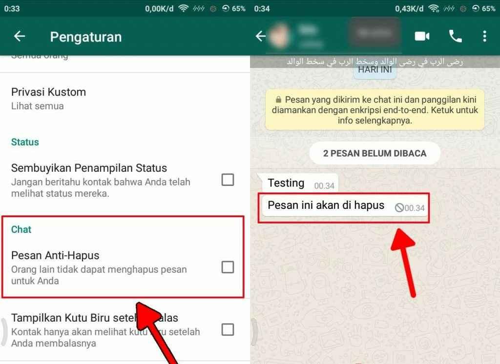 Cara membuat pesan chat WA tidak bisa di tarik pengirim 5