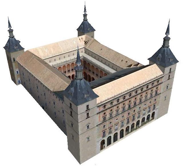 vista en 3-D del Alcázar de Toledo