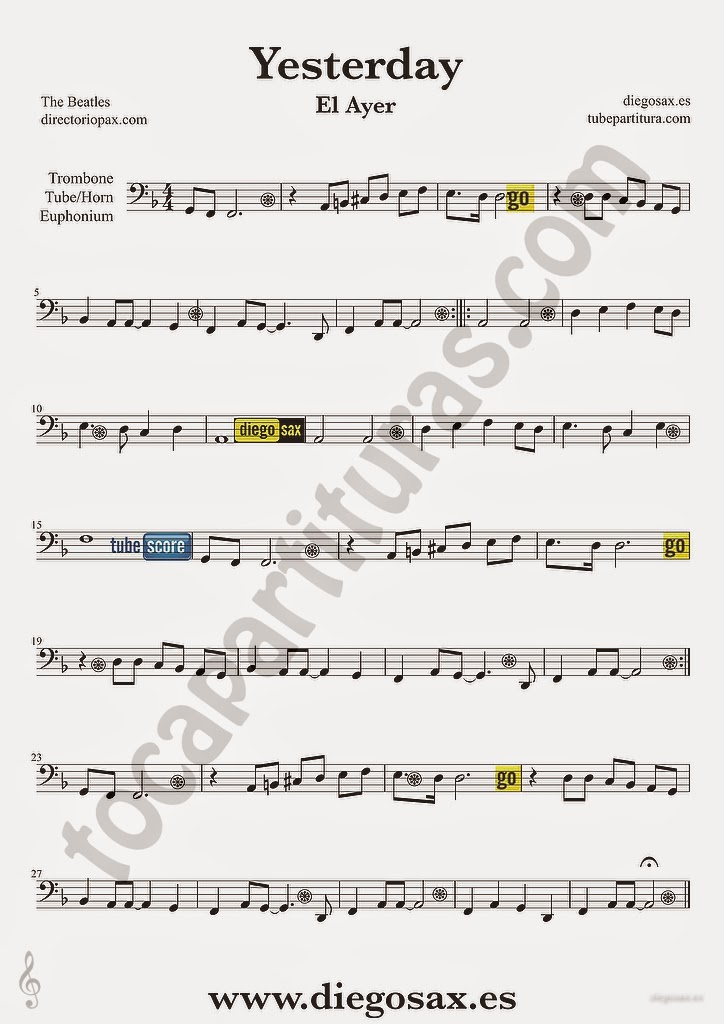 tubescore Yesterday by The Beatles Sheet music for Trombone Pop - Rock - bass cleff sheet music