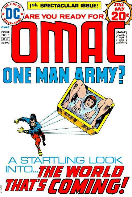 Omac v1 #1, 1974 dc bronze age comic book cover art by Jack Kirby