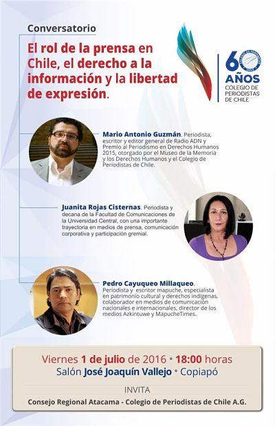 Atacama conmemora 60 años del Colegio de Periodistas con conversatorio abierto