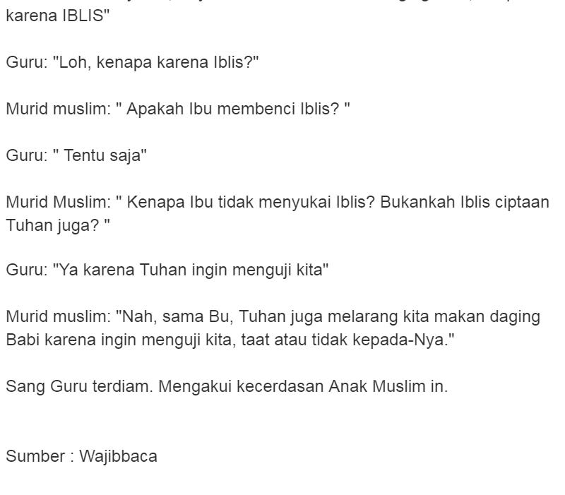 Kenapa Babi Haram Jawaban Murid Muslim Satu Ini Membuat Guru Dan Semua Teman Sekelas Terdiam