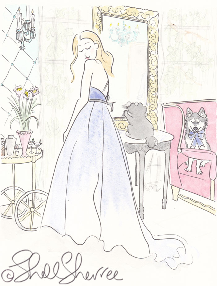 Blue Gown Cocktails and Klee Kai with Black Cat Fashion & Fluffballs illustration © Shell Sherree