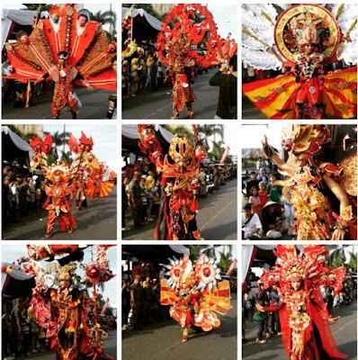 caruban carnival the imagine of mask panji,samba,rumyang,tumenggung kelana