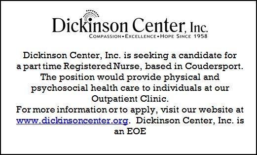 Solomons words for the wise Dickinson Center Seeking Part Time Registered Nurse