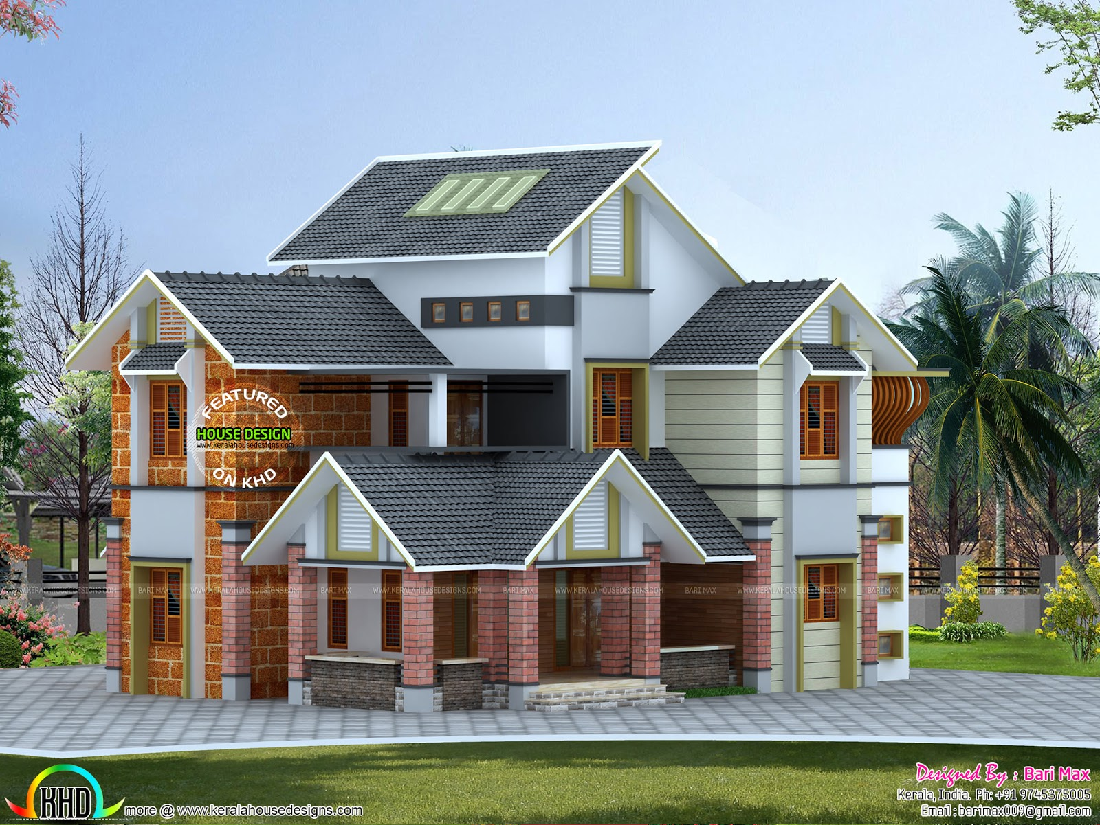 Double height dining hall slop roof house kerala home for Kerala home designs photos in double floor