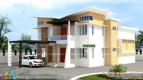 2863 sq-ft slanting roof modern home