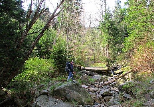 Ponownie przekraczamy potok Malina. Tutaj był kiedyś most.