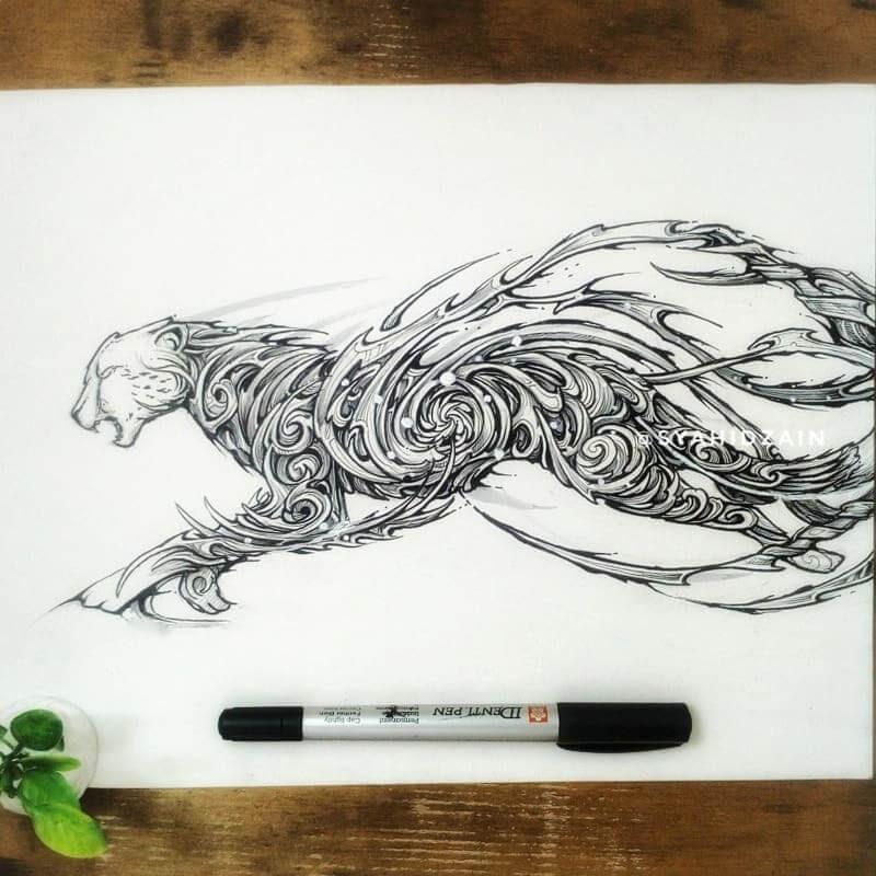 13-Cheetah-Animal-Drawings-Syahid Zain-www-designstack-co