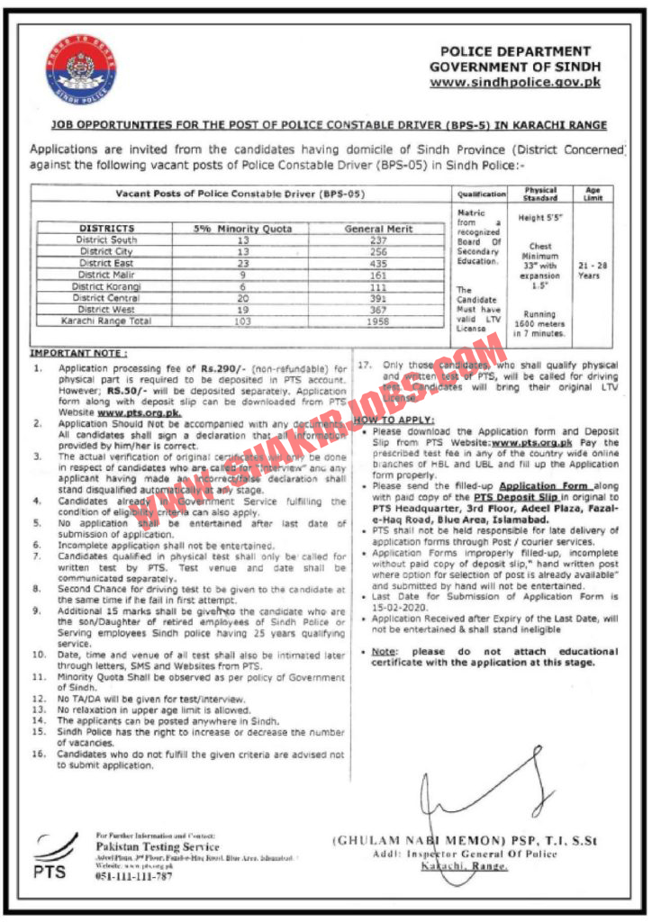Sindh Police Jobs 2020 For Constable (6090 Vacancies)