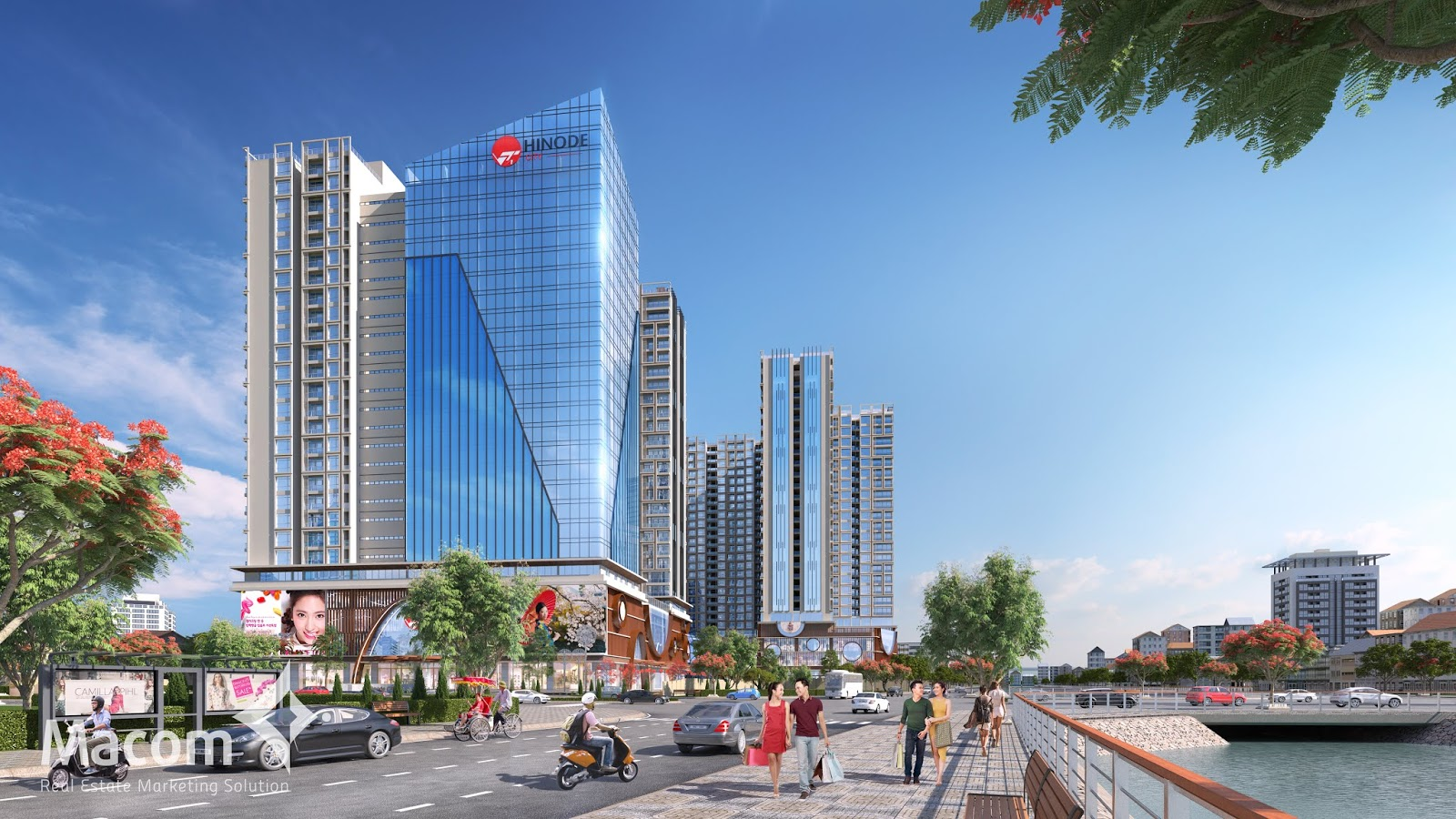 Phối cảnh dự án Hinode City với 3 toà Hi-mark, asahi, shachi