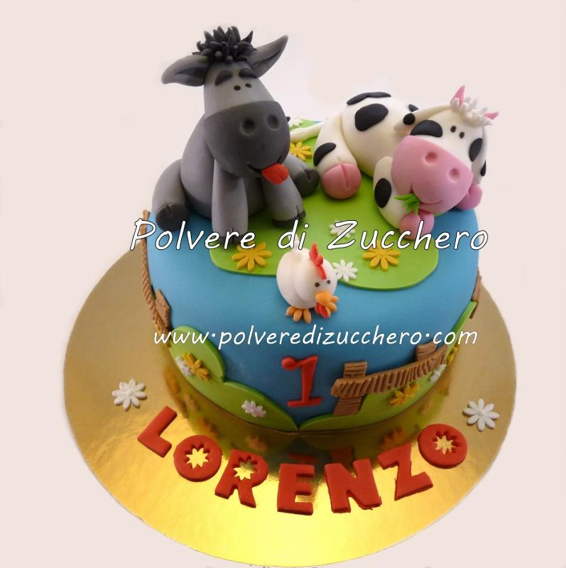 torta animali della fattoria mucca e asinello polvere