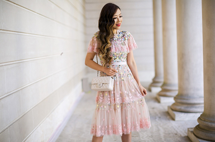 Needle Thread Tiered Midi Dress with Embroidery and Lace Detail, Needle thread TIERED ANGLAIS MINI DRESS , Baublebar Lily drop earrings, chanel mini flap bag, christian louboutin so kate pumps, san francisco fashion blog, san francisco street style, birthday dress