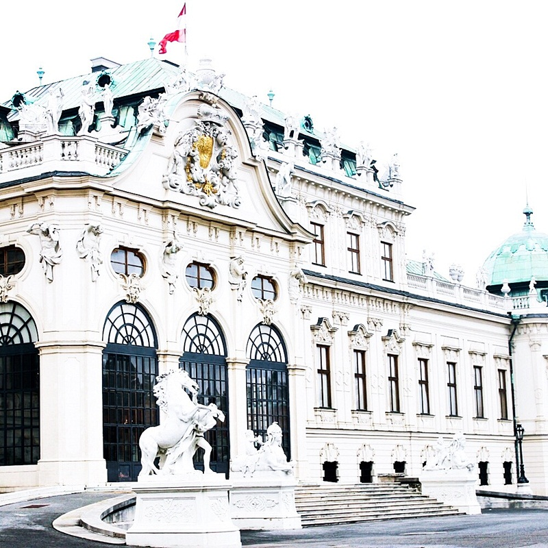 travel photos of Belvedere palace in Vienna Austria. Belevedere palata Bec
