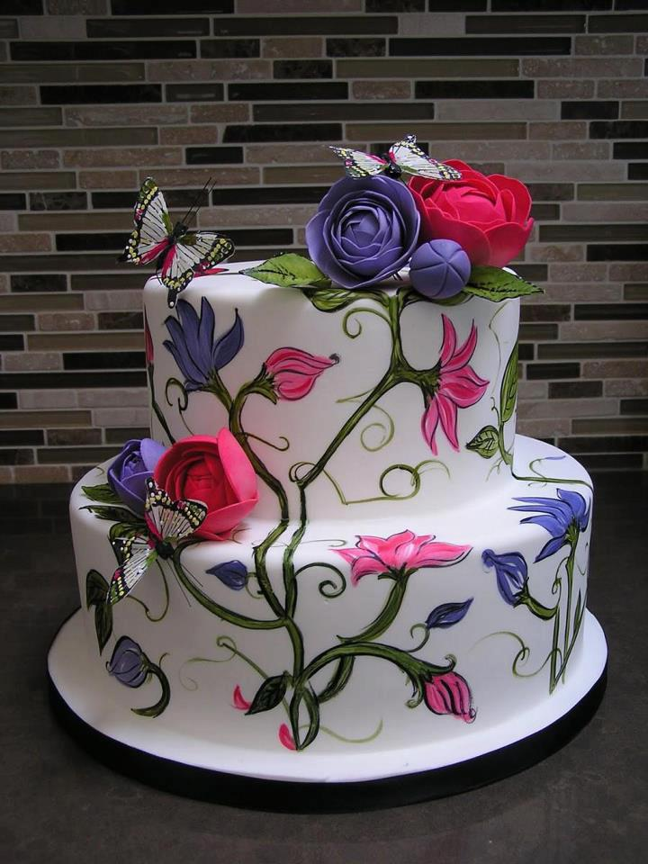 Birthday Cake Decorated With Flowers And Butterflies ツ