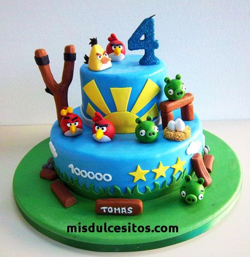 Tortas Angry Birds. Venta de tortas temáticas en Lima. Venta de tortas artísticas en Santa Anita, Mayorazgo, Ate, La Molina