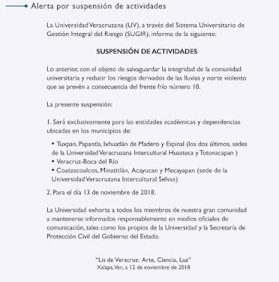 UV suspende clases en varios municipios costeros de Veracruz