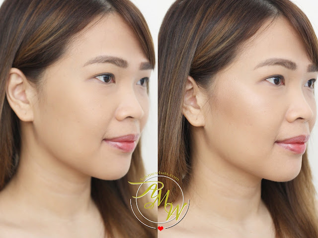 before and after photo of Nikki Tiu askmewhats wearing Cathy Doll 3D Face Forward Contour Kit Review in shades Nerfertiti Weapon