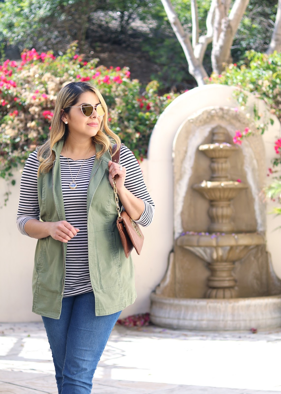 San Diego Fashion, Bloggers in San Diego, how to wear a utility vest, stripes and olive green