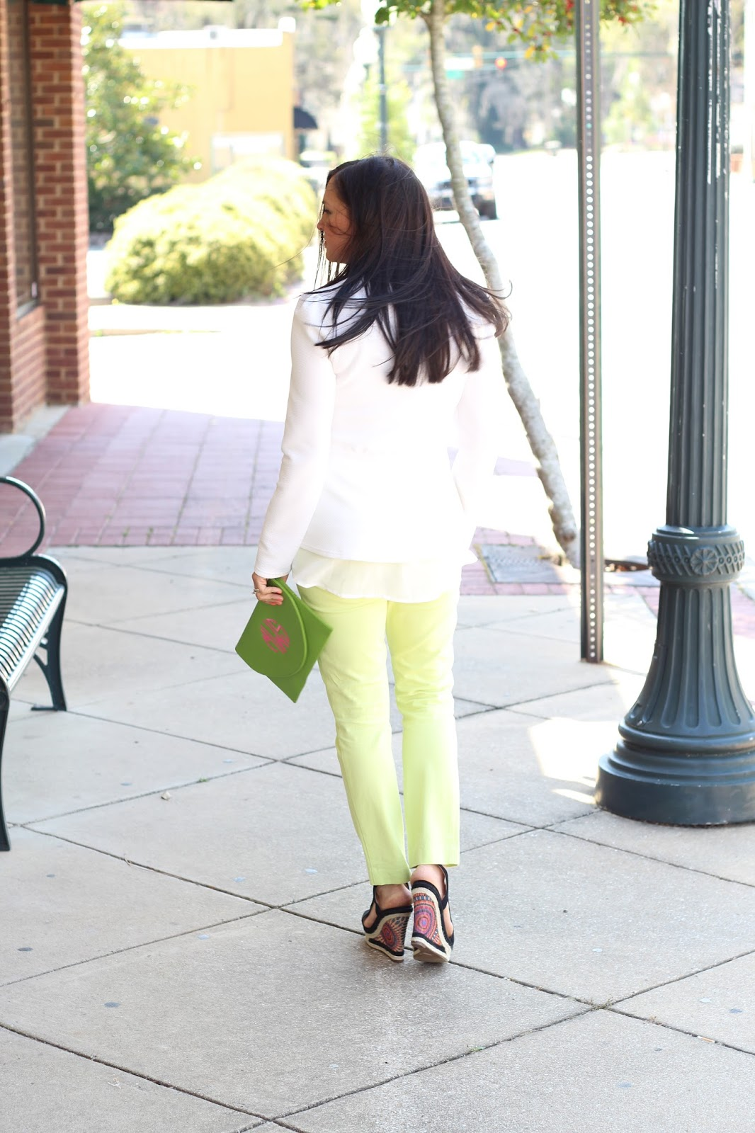 Black Wedges, lime pants, white peplum