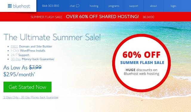 Ofertas relámpago en BlueHost con 60% off