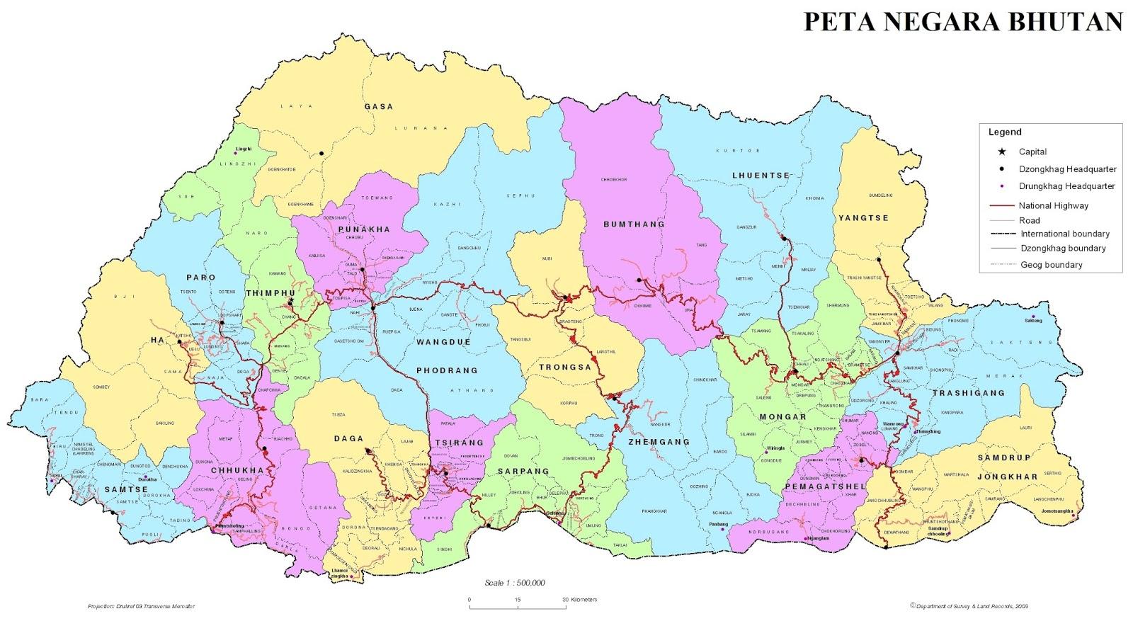 Peta Negara Bhutan