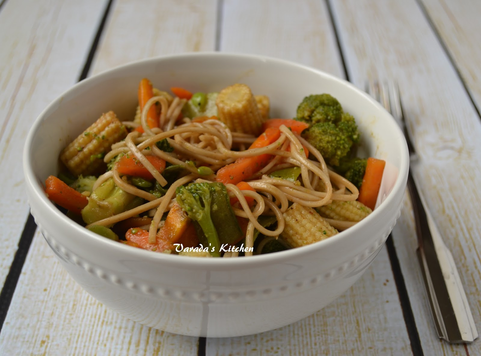 Varada S Kitchen Microwave Steamed Vegetables With Soba