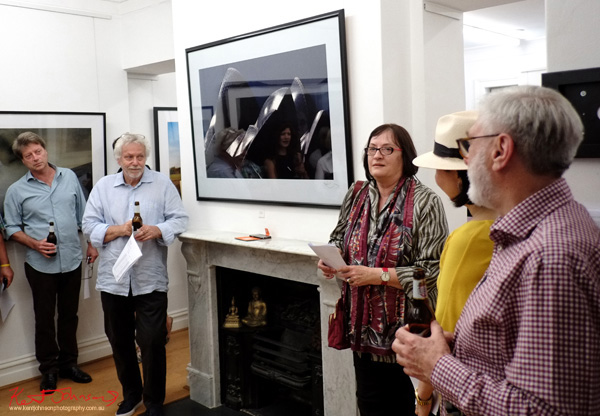 Gael Newton delivers her speech, Opening night, Click! 2016 Photography Exhibition at Badger & Fox Gallery.