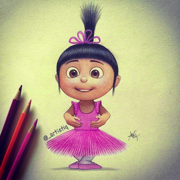 23-Agnes-Despicable-Me-Cas-_artistiq-Colored-Celebrity-and-Cartoon-Drawings-www-designstack-co