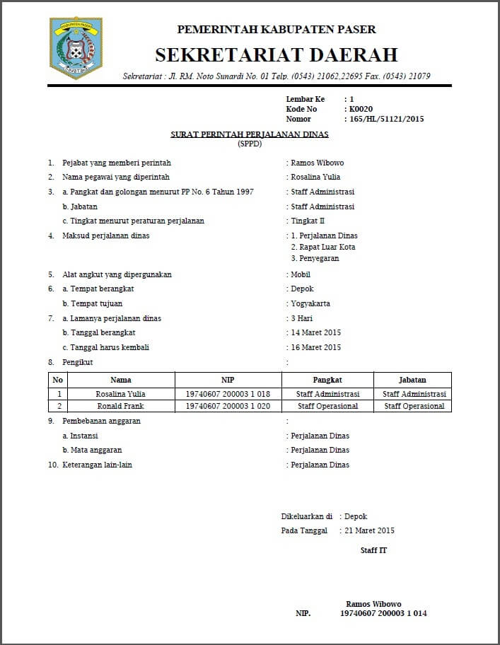 Surat Tugas Perjalanan Dinas : surat, tugas, perjalanan, dinas, Contoh, Surat, Tugas, Perjalanan, Dinas, Dalam, Bahasa, Inggris