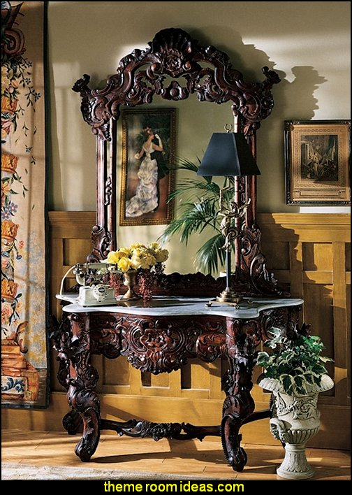 Hand-carved Solid Mahogany Antique Replica Hapsburg Mirror Topped Console Table