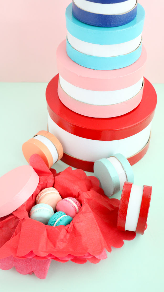 DIY Macaron Gift boxes - How to make your own gift boxes for Valentine's Day or Galentine's Day - easy craft - easy valentine's day craft idea - paper source - target style