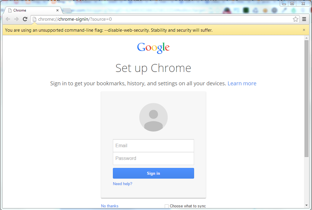 Use Chrome for Development and Allow Cross-domain Javascript and AJAX