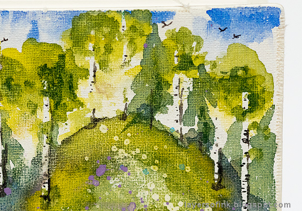 Layers of ink - Watercolor Meadow Notebook Tutorial by Anna-Karin Evaldsson. Watercolor birch trees.