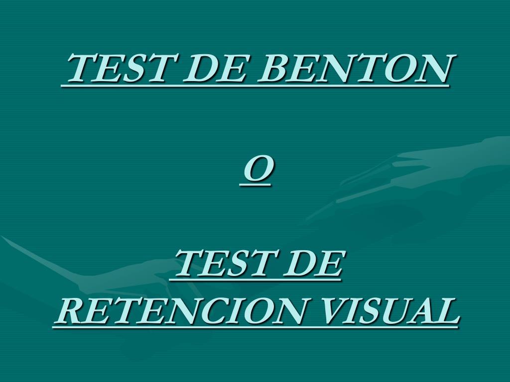 Test de Retención Visual de Benton. Manual.