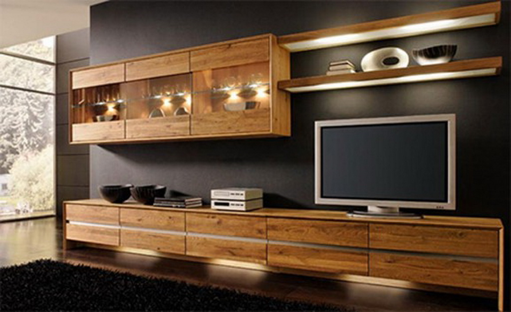 Wooden interior design for your living room house - Living room with wooden furniture ...