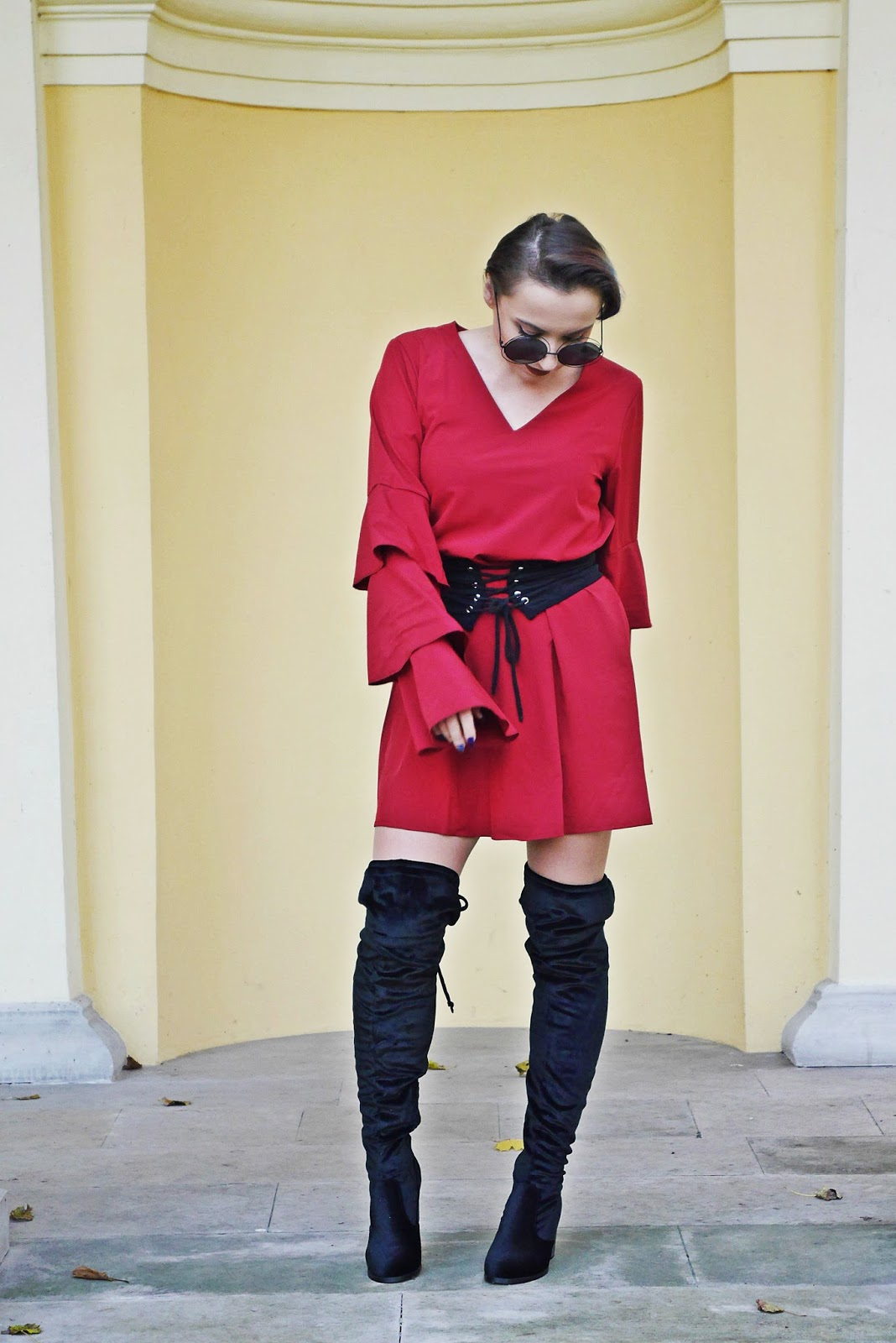 10_gamiss_high_knee_boots_burgundy_dress_karyn_blog_modowy_061117