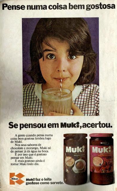 Propaganda antiga do achocolatado Muki produzido pela Kibon nos anos 70