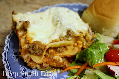 A quicker prep version of meat lasagna, using ground beef, commercial pasta sauce and oven-ready lasagna noodles.