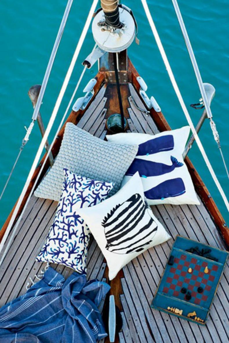 Coastal blue and white throw pillows