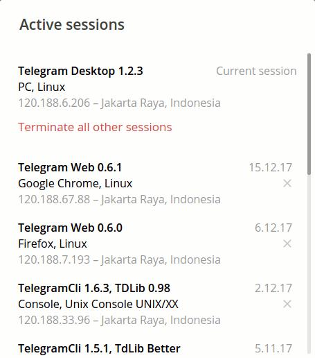 Jendela pengaturan sesi aktif Telegram di Telegram Desktop