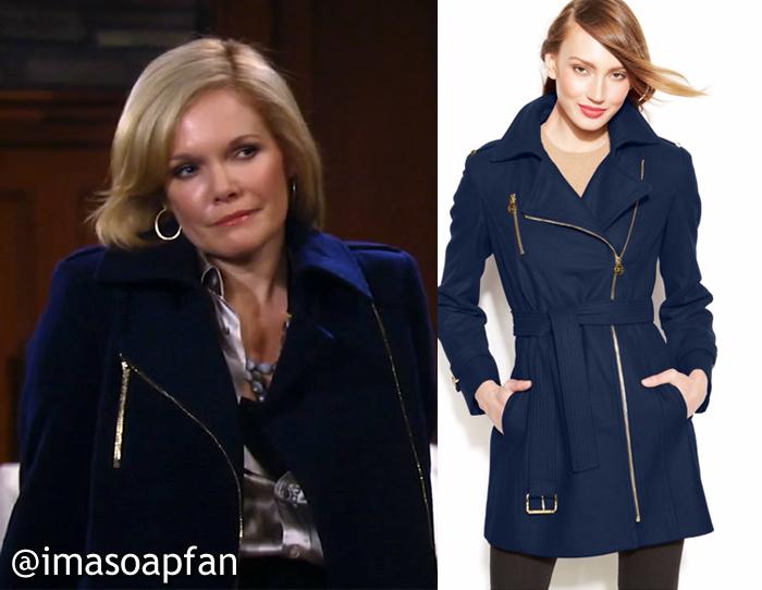 8bdf0294d Ava Jerome's Blue Wool Coat with Asymmetric Zip - General Hospital ...