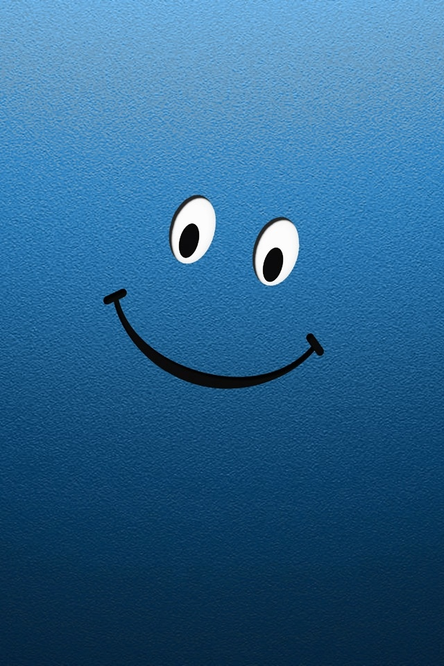 iPhone Blue Smiley Wallpaper