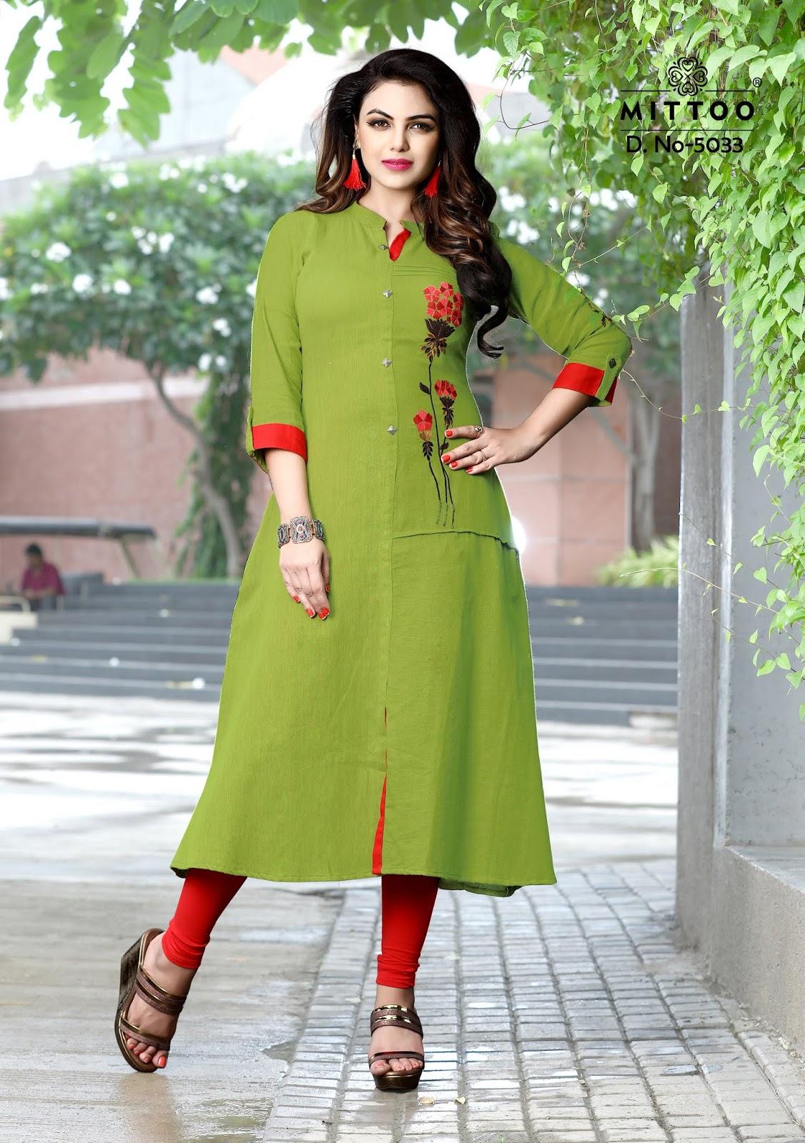 efe9a238ad Brand Name : MITTOO Catalog : Kanisha Design : 7. Fabric : Rayon Namho Slub  Work : Thread Embroidery Size : M(38), L(40), XL(42), XXL(44), XXXL(46)