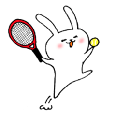 The white rabbit which likes tennis