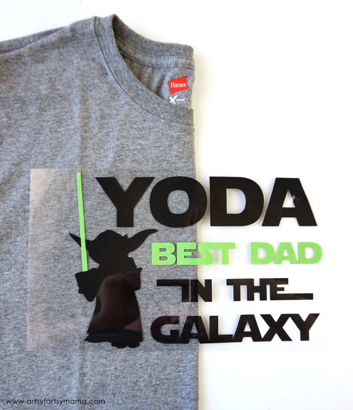 Use HTV from Expressions Vinyl to make dad a Yoda Father's Day Shirt with free cut file!