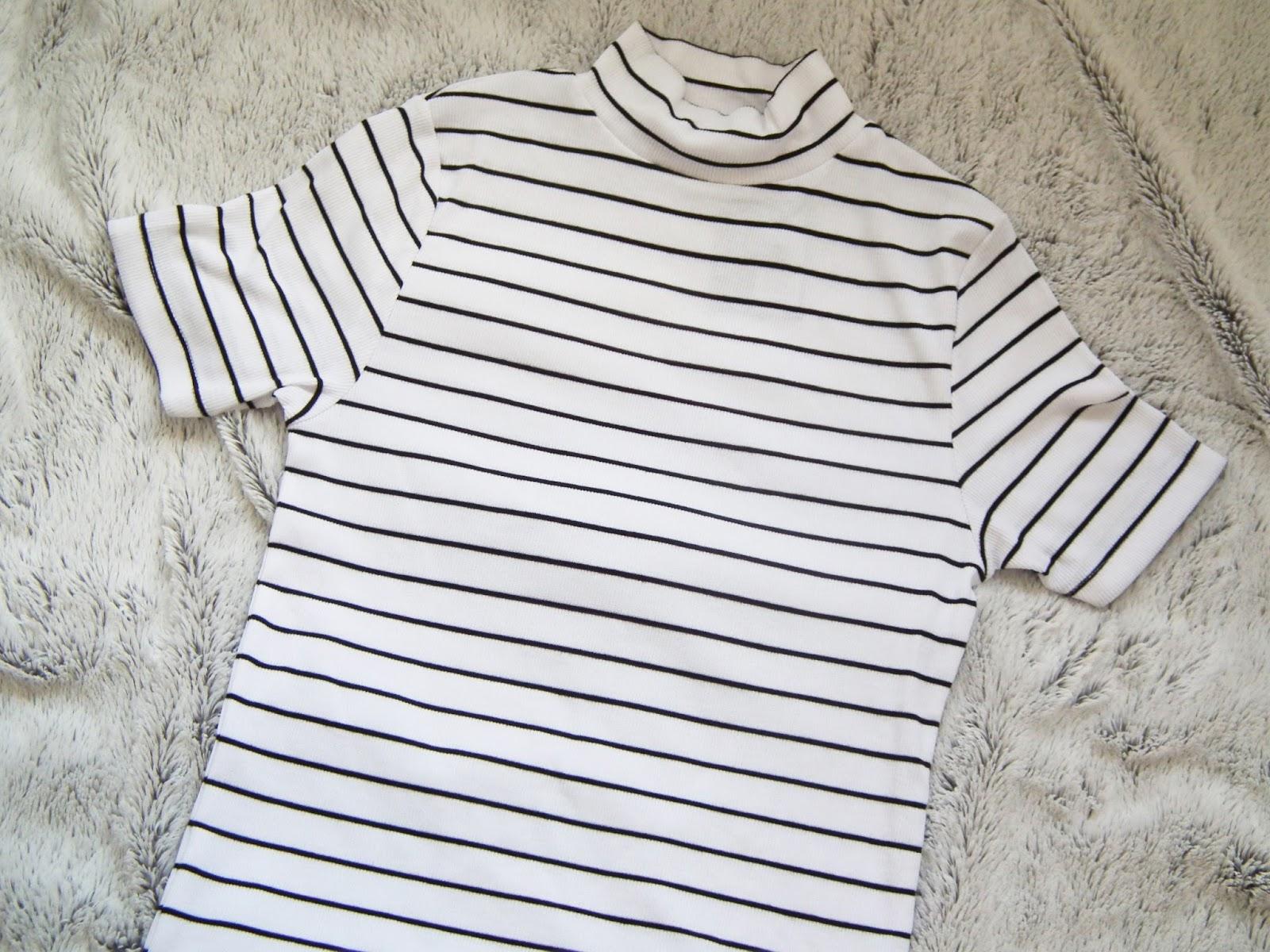 Primark Haul - Spring 2016 White and black striped high neck t-shirt