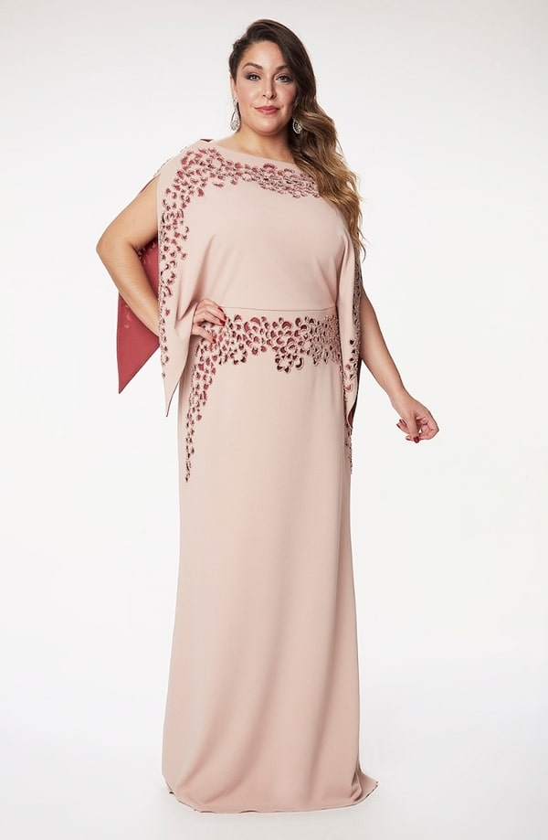 vestido longo rose para mãe dos noivos