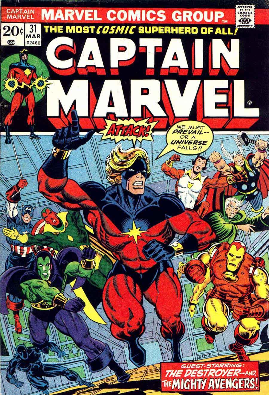 Captain Marvel #31 marvel 1970s bronze age comic book cover art by Jim Starlin