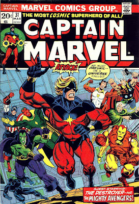 Captain Marvel #31 marvel 1970s bronze age comic book cover art by Jim Starlin